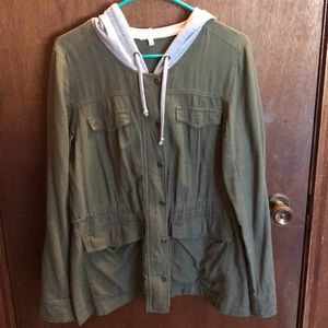 Green hooded anorak jacket